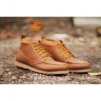 D-Island Shoes Boots Sole Rubber High Quality Leather - Soft Brown ( ISL 29 )