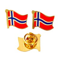 Mulyocreative Pin Bendera Norwegia Bros [2 pcs]