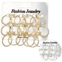 Aksesoris Anting Mix Frosted Hoop Earring 9psg/Set - RAT1199W