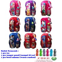 Tas Ransel Anak SD 3 in 1 - LOL PONY FROZEN SPIDERMAN ULTRAMAN KITTY CARS TRANSFORMERS AVENGERS