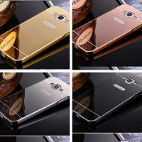 Aluminium Metal Bumper Slide Back Case with Mirror Cover Untuk Samsung J7 Prime
