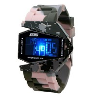 Skmei 0817 Unisex Airplane Shaped 5ATM Water Resistant - Jam Tangan Digital Sports Watch - Army