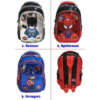 Tas Ransel Anak TK Sequin Usap  LED Mata Lampu - BATMAN AVENGERS SPIDERMAN - 2 Kantung IMPORT