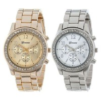 [1+1] 2 PACK Geneva Silver and Gold Plated Classic Round Ladies woman couple Watch