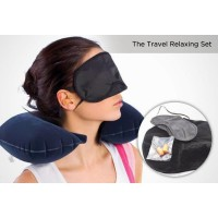 Travel Pillow Set 3 in 1 Bantal Leher Penutup Mata Penutup Telinga