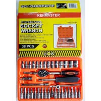 KENMASTER Kunci Sock Set 38 Pcs PREMIUM PROFESSIONAL Socket Wrench
