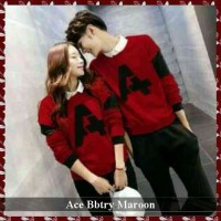 busana kaos panjang couple | jual baju kembaran murah | lp couple ace bbtry ( marron,navi,coklat,abu