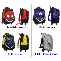Tas Trolley Anak SD - SPIDERMAN AVENGERS BATMAN - 2 Kantung IMPORT Free Rain Cover