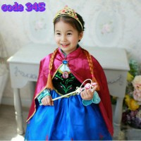 frozen Anna dress / Gaun gadis + jubah merah Anna / res