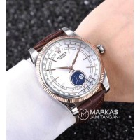 Jam Tangan Pria Rolex Cellini Moonphase Leather Watch