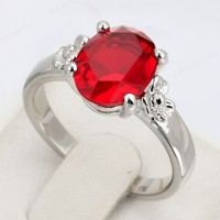 Red Oval Crystal Platinum Plated Ring