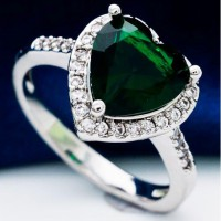 Green Heart Crystal Platinum Plated Ring