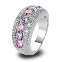 Pink Purple Oval Crystal Ring