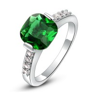 Medium Green Crystal Platinum Plated Ring