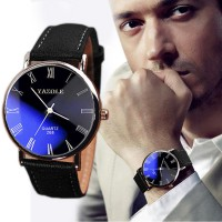 Luxury Fashion Faux Leather Mens Quartz Analog Watch Watches black Jam Tangan