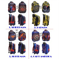 Tas Trolley Anak SD Usap Sequin SPIDERMAN BATMAN SUPERMAN AVENGERS - 3 Kantung IMPORT