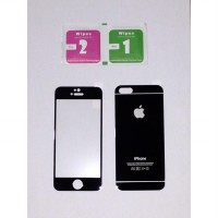 Iphone 5 / 5s Black Depan + Belakang Electroplate Premium Tempered Glass