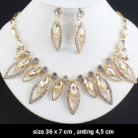 Paket Kemasan Set Rantai Kalung Giwang Kerabu Subang Anting Wanita Crystal Rhinestone Necklace Earrings Jewelry Sets For Wedding