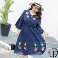 Big Size Jumbo Floral V-Neck Embroidery 0725