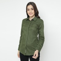 Mobile Power Ladies Pocket Basic Long Shirt - Green Army O8303