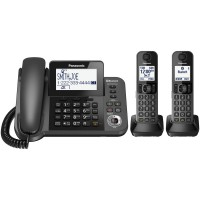Panasonic Cordless Phone KX-TGF382 M Wireless Telephone [Link2Cell Bluetooth][2 Handsets] KX-TGF382M