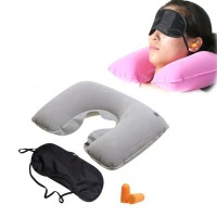 [Promo] 3 In 1 Set Bantal Leher Travel / Travel Pillow Set / Bantal Tiup , Penutup Mata & Telinga