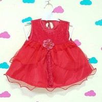 dress bayi merah red 0-9 month - 0717