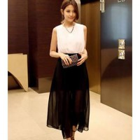 [DJ] temperament hit color stitching chiffon dress slit skirt