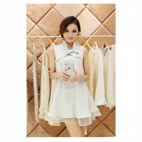 [DJ] New organza bow chiffon dress Korean women loose A-line dress