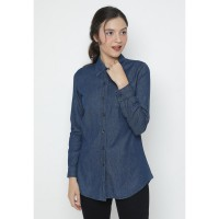 Mobile Power Ladies Long Sleeve Denim Shirt - Blue JA8306