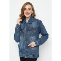 Mobile Power Ladies Jacket Jeans Button Variation - Blue Denim N402