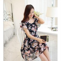[DJ] Ladies round neck short-sleeved floral dress flouncing Slim thin chiffon dress