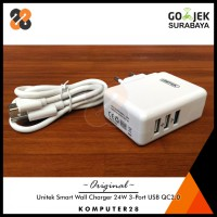 Unitek P537A Smart Wall Charger 24W 3-Port USB with Quick Charge QC2.0