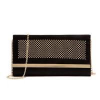 [Sh] Clutch T1194 Black-Gold PU Leather