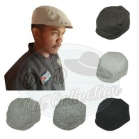 D & D Hat Collection Topi Newsboy Pria Bahan Wool Canvas Topi Pet Datar