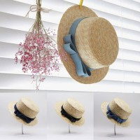 Topi Pantai Korean Straw Jeans Bow Beach Hat - HO3441W