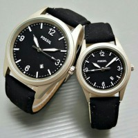 Jam Tangan FossiL Date Leather Black Couple