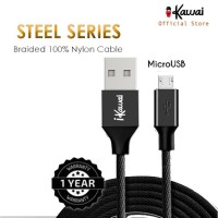 Ikawai MicroUSB Braided Nylon 27cm Kabel Data  Charge For Android