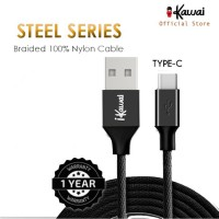 Ikawai Type-C Braided Nylon 27cm Data Cable / Kabel Data  Charge