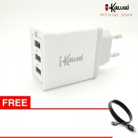 Ikawai Quick Charger 8A 40W Qualcomm 3.0  Travel Adapter with 3 port USB Free Microusb kabel