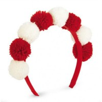 Mudpie Red/White Pom Pom Headband #1512143