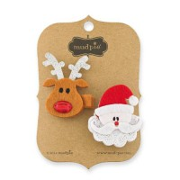 Mudpie Santa & Reindeer Clips (Set Of 2) #1512094