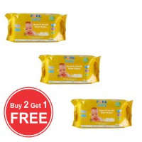 PURE BABY HAND&MOUTH WIPES 60 SHEET CHAMOMILE ORANGE COMBO BUY 2 GET 1