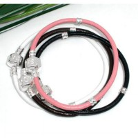 Gelang - Leather Silver Plated Snap Clasp Bracelet (Kulit)