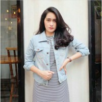 JAKET JEANS WANITA TEBAL | Available Light dan Dark Navy Jeans