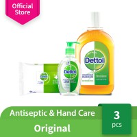 Dettol Antiseptic 750ml + Wipes 50s + Sanitizer 200ml