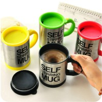 Gelas mug self stirring aduk Otomatis Stainless steel Coffee Magic Teh