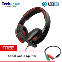 Acetech Headphone Headset Gaming + Microphone Tactical Free Kabel - Hitam