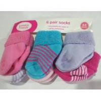 Luvable Friends 6-Pack Baby Newborn Socks-Girl Salur