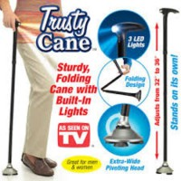 Alat Bantu Jalan Lipat / Trusty Cane Fold(GSWS)  This As Seen on TV Trusty Cane is wonderful for people who need a little added help walking. It provides secure, reliable support on just about any sur